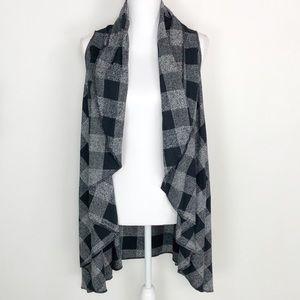 Plaid Waterfall Vest In Black & Gray